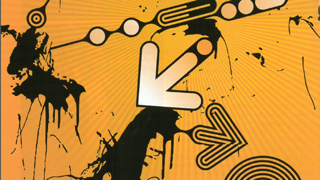 A series of arrows and other shapes on a mustard yellow background.