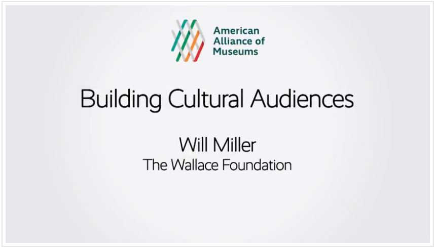 Title page of the Building Cultural Audiences session with Will Miller's name.