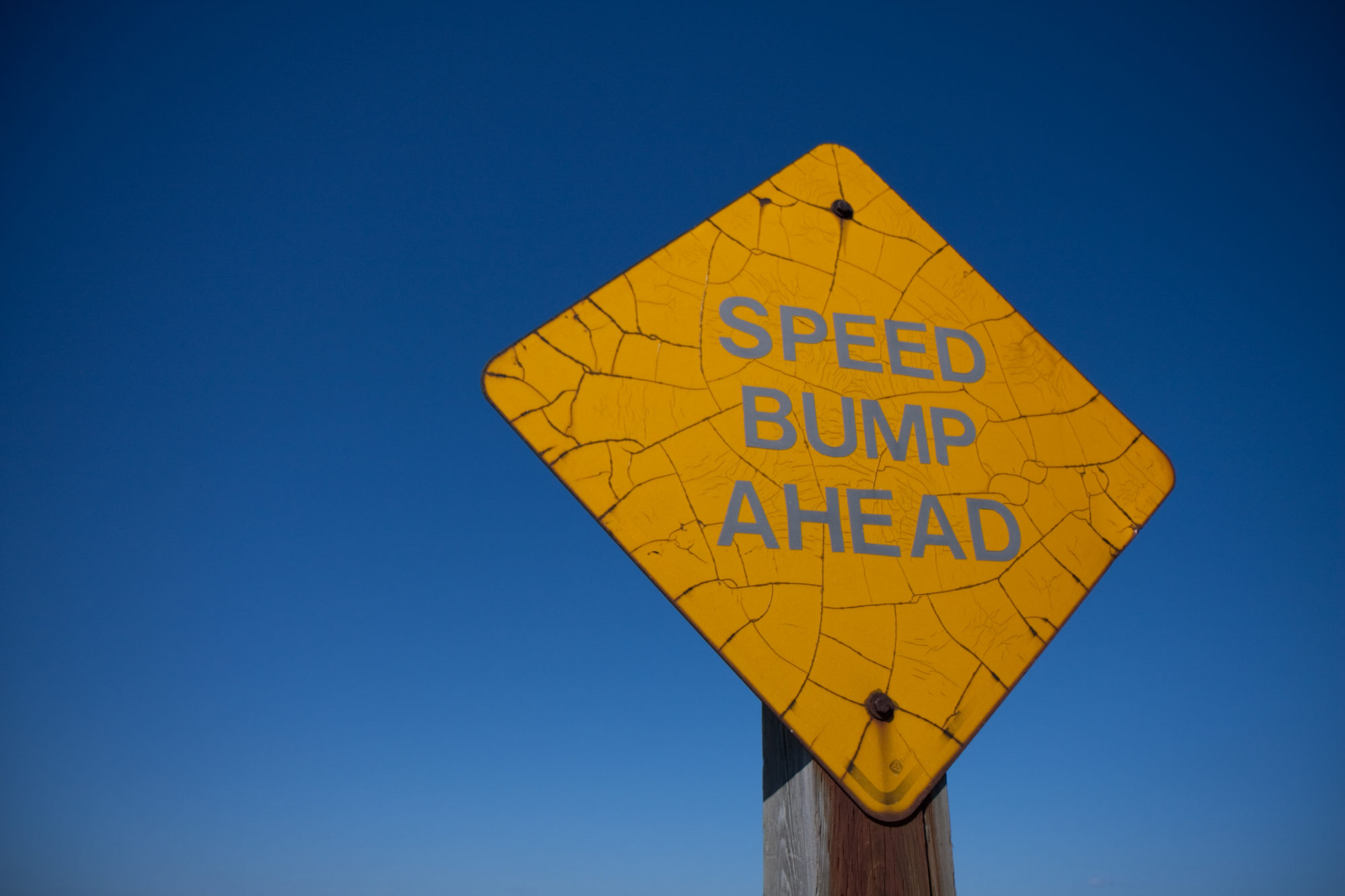 Sign for speed bumps ahead