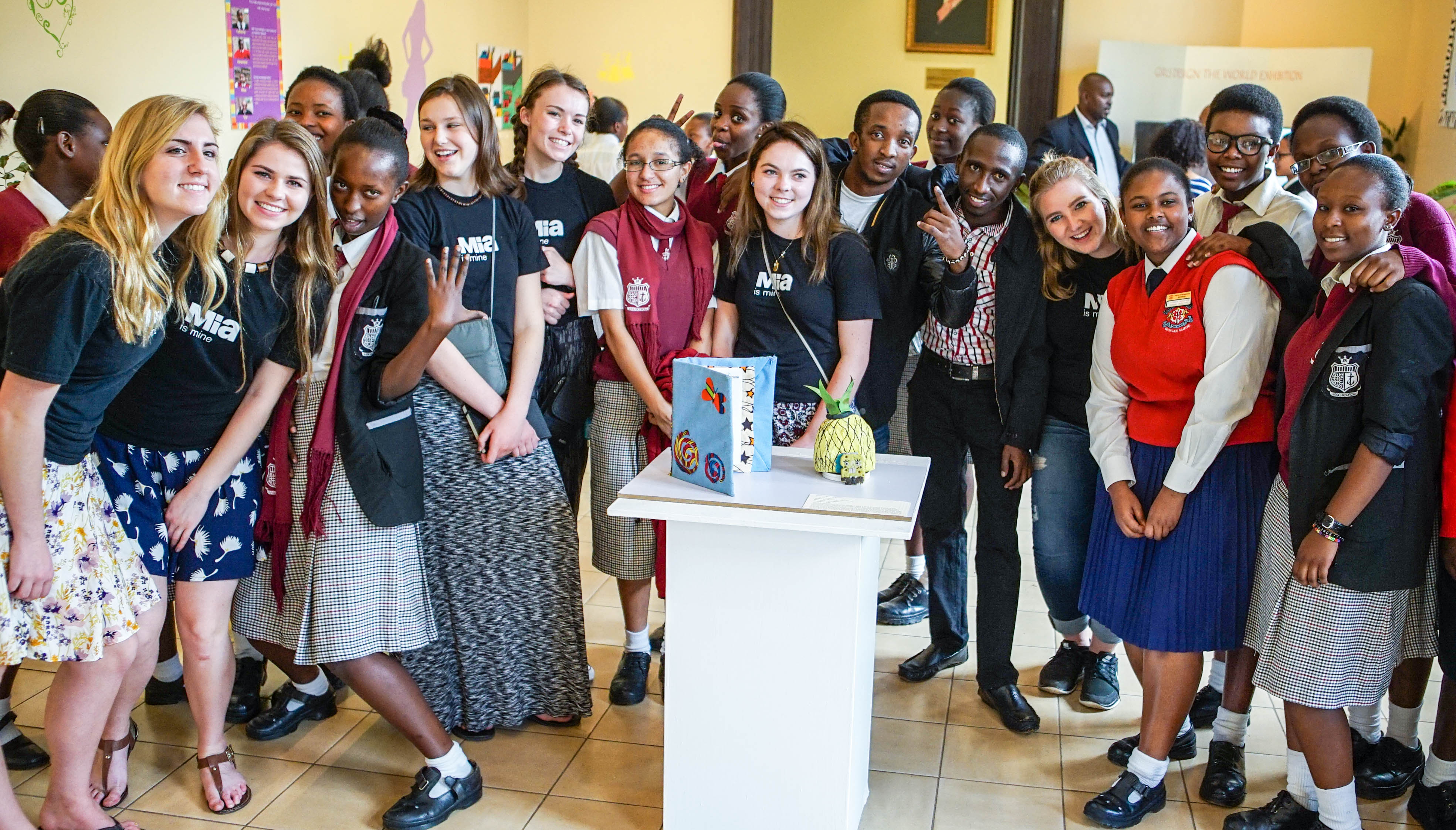 "Kenyan and American ""Girls Design the World"" participants at National Museums Kenya in Nairobi."