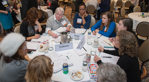 Advocates from Illinois, Indiana, and Iowa review the issues and prepare for their Capitol Hill meetings at a Museums Advocacy Day.
