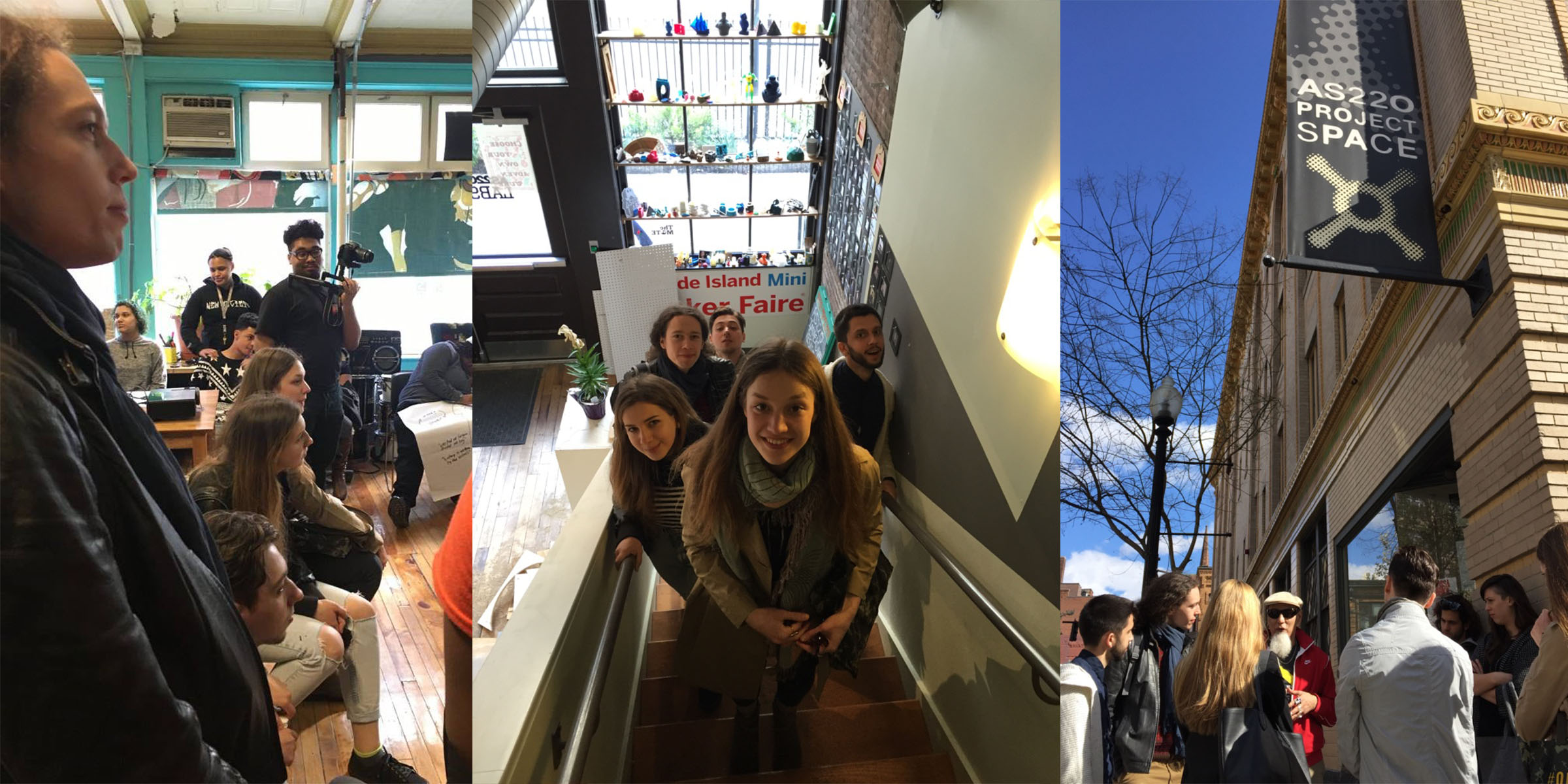 A collage of three pictures showing students in conversation in a classroom, riding up an escalator, and outside of a building.