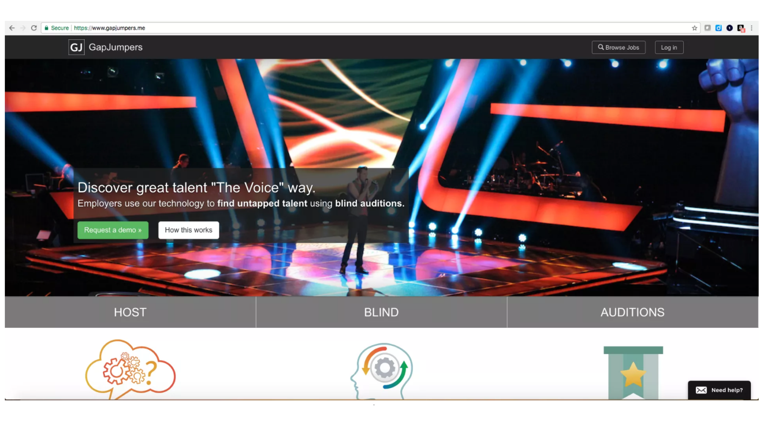 "Screenshot of www.gapjumpers.me webpage with an image of the tv show, ""The Voice,"" as their featured post."
