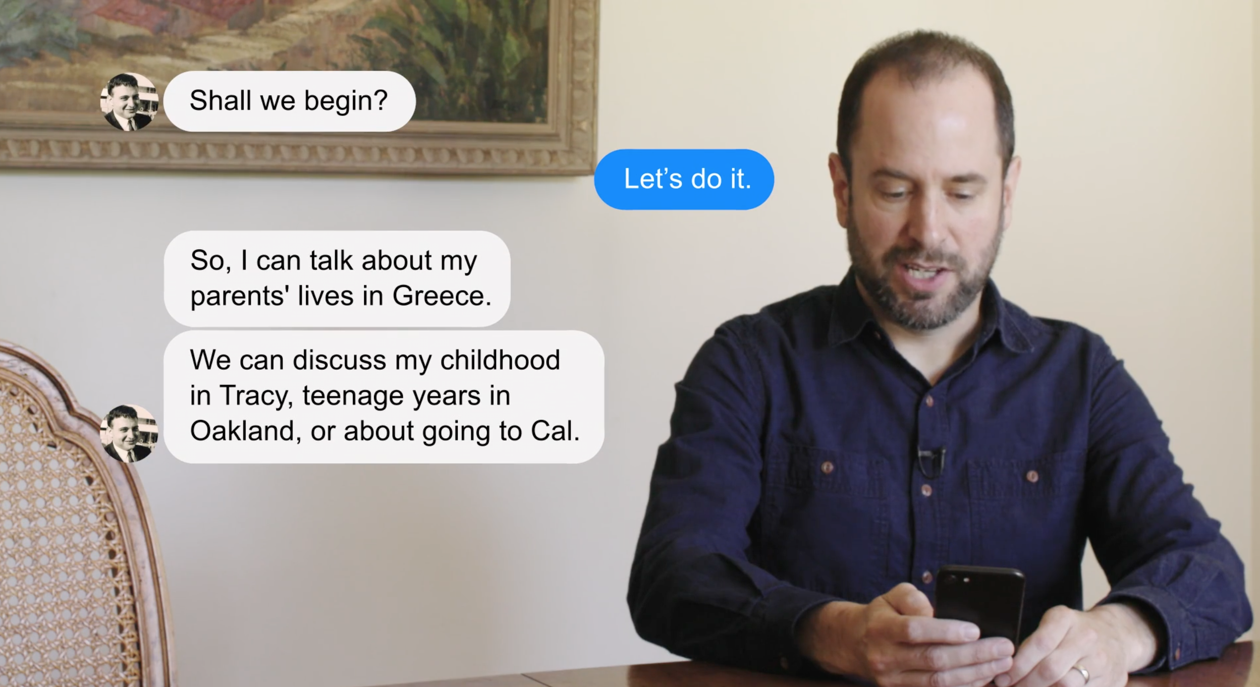 Man texting an AI agent on his phone. The conversation is rendered in bubbles in the image