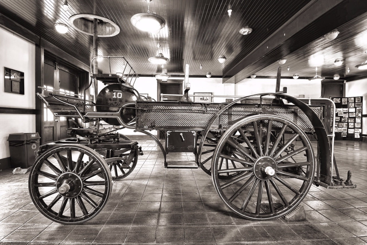 Black and white image of a fire engine wagon