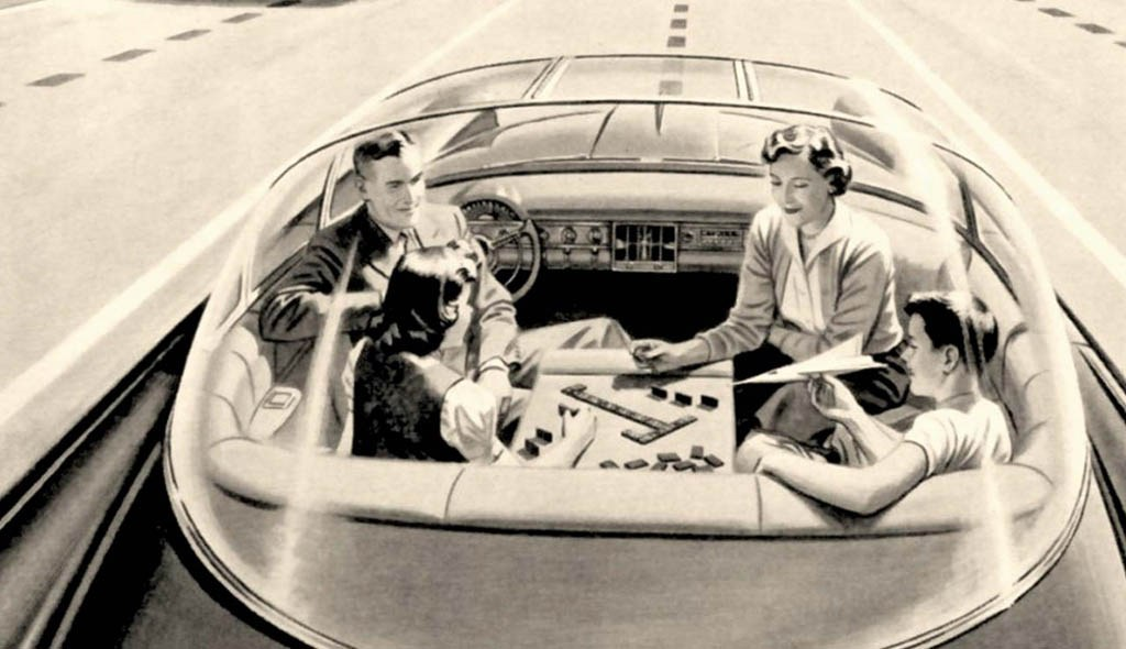 People in a futuristic car.