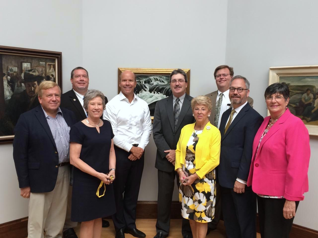 From left to right; Al Martin, WCMFA Trustee President; Chris Strovel, Eastern Panhandle Field Representative, Senator Shelley Moore Capito (WV); Rebecca Massie Lane, Museum Director; U.S. Representative John Delaney, (MD-6); Wallace Lee, Museum Development Director; Mary Jo Brown, Regional Coordinator, Senator Joe Manchin (WV); Stephen Smoot, Eastern Panhandle Director, U.S. Representative Alex Mooney (WV); Robin Summerfield, Field Representative, Senator Ben Cardin (MD); Julianna Albowicz, Special Assistant to Senator Barbara Mikulski (MD). Photo Credit: Washington County Museum of Fine Arts