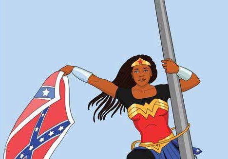 Cartoon image of a dark skinned Wonder Woman scaling a flag pole with the Confederate Battle Flag in her hand