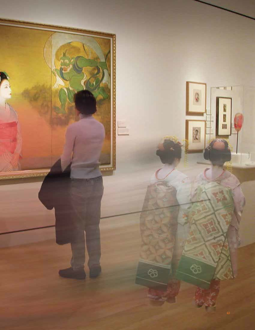A man stands looking at an Asian artwork while two women dressed in traditional Geisha garb walk behind him