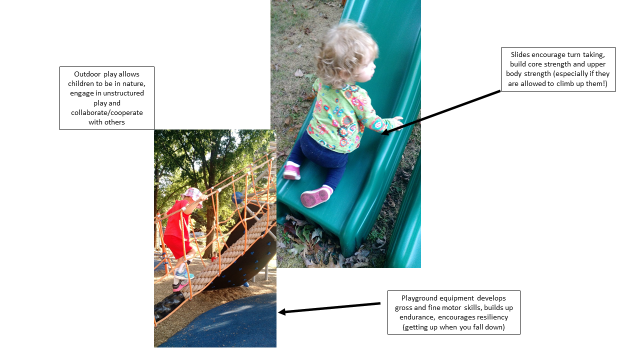 Two images side by side with children playing on the playground