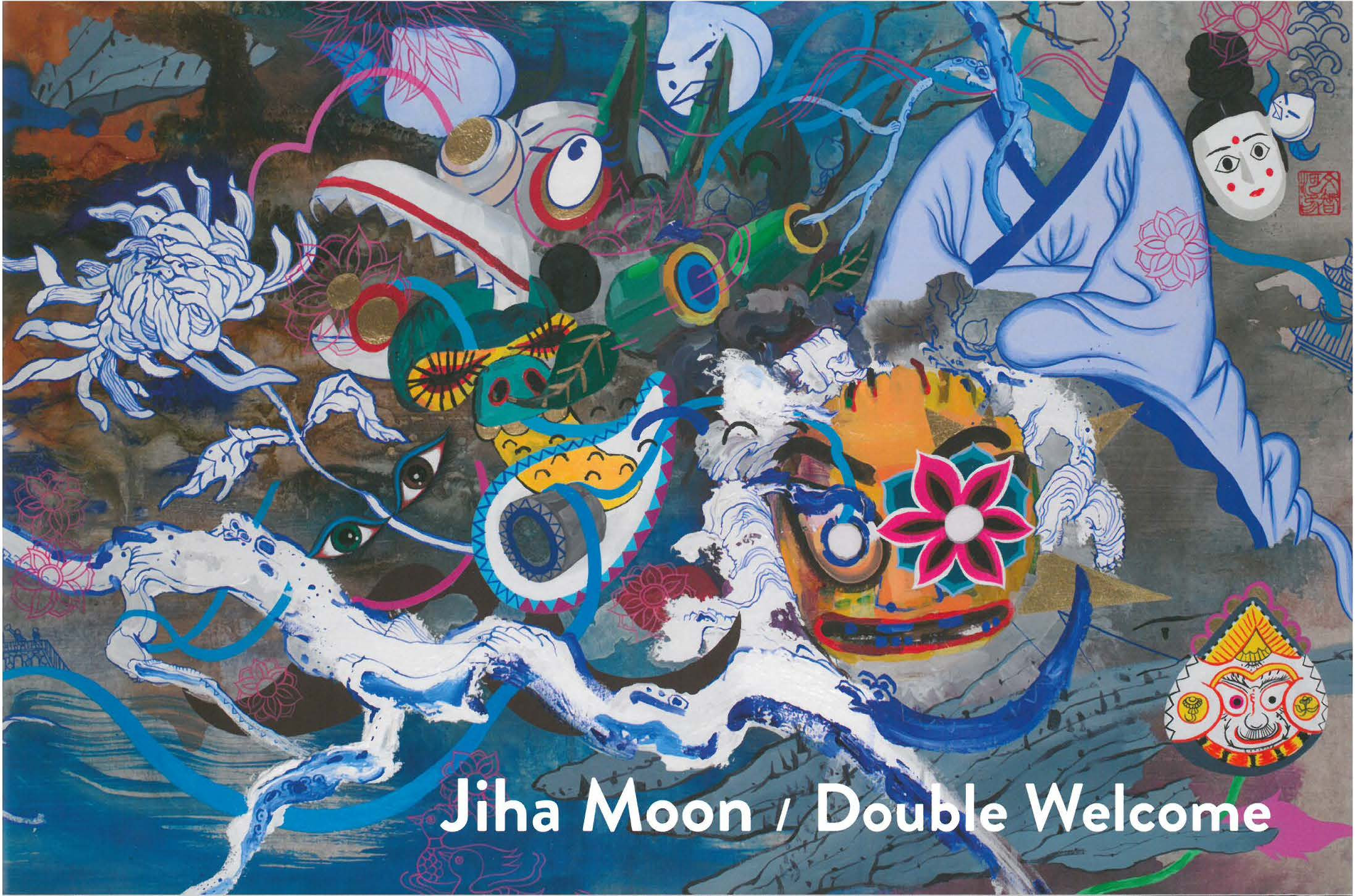 "Image of ""Jiha Moon: Double Welcome, Most Everyone's Mad Here,"" designed by Mark Lawrence, Gil Shuler Graphic Design. It was awarded for excellence in design in the 2017 Publication Competition and is an Asian-inspired, abstract artwork with a vibrant, blue background that includes masks, dragons, and a kimono."