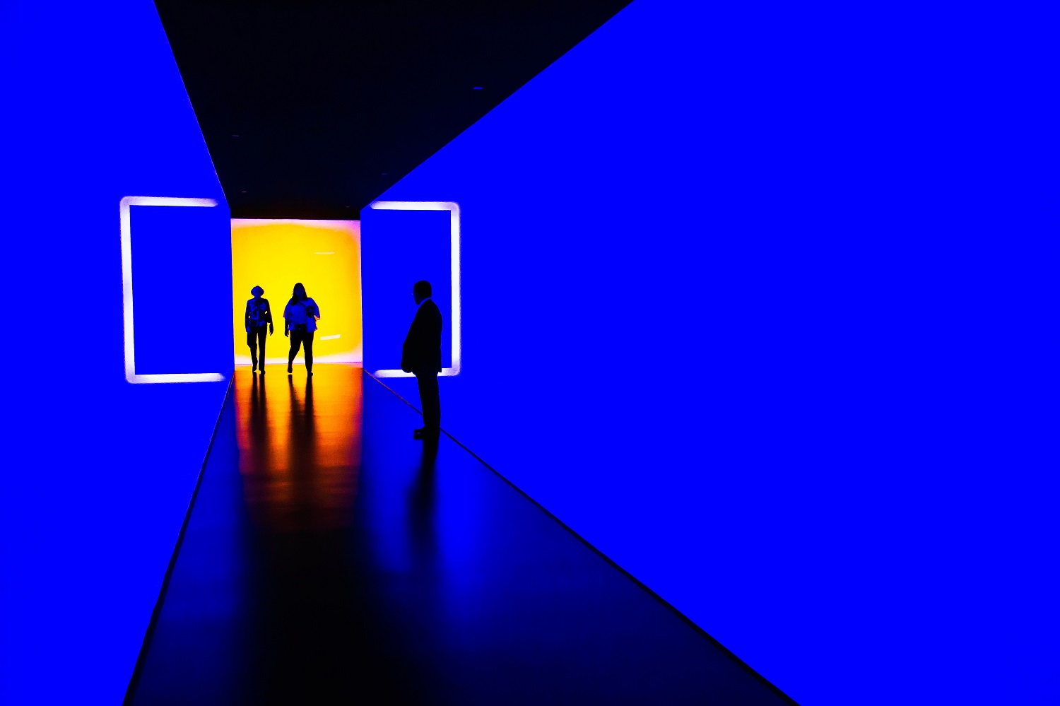 This photo shows a security guard standing in the Museum of Fine Arts, Houston, United States.