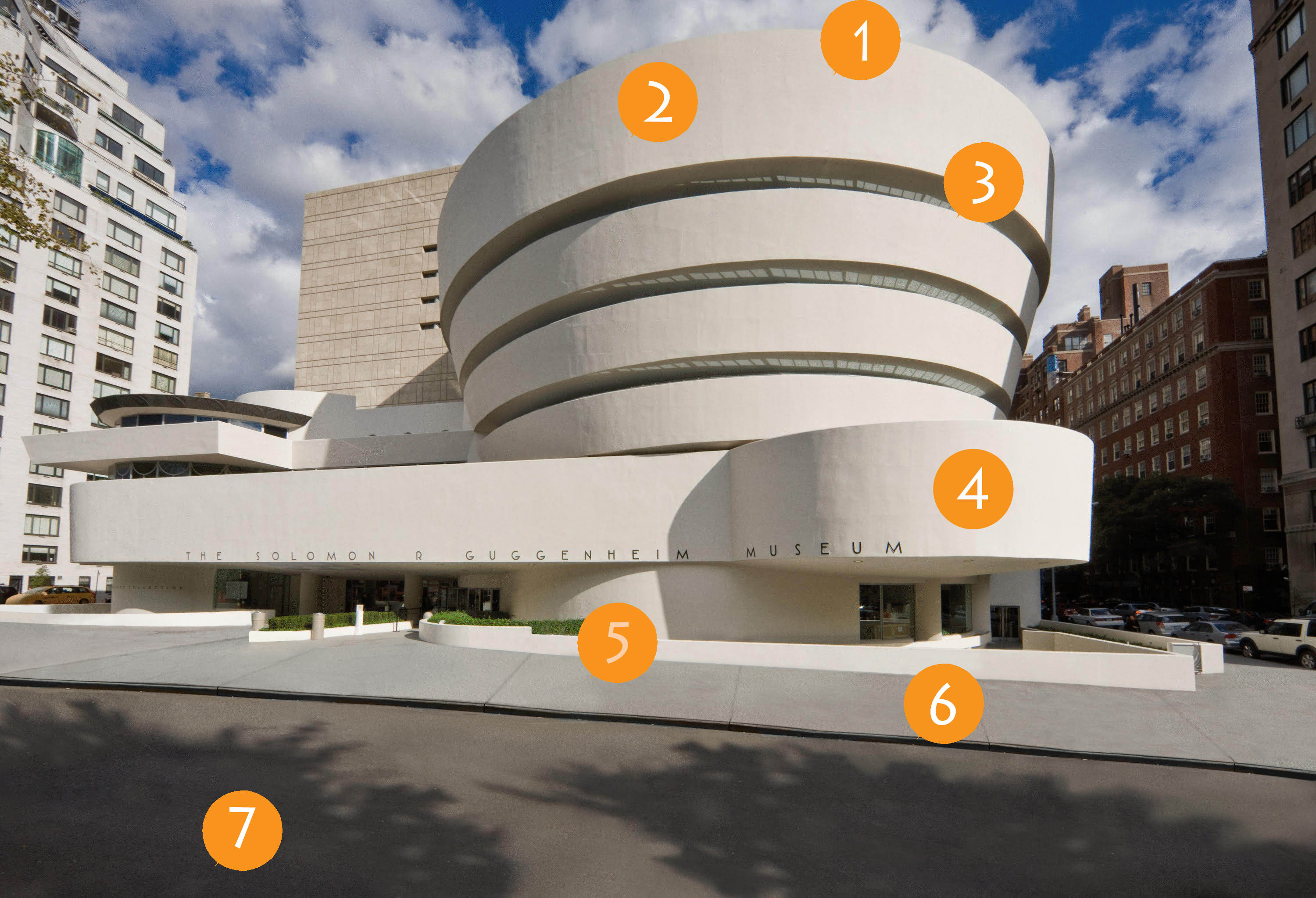 External image of the Guggenheim museum with orange dots on the outside to point out points of interest for the article