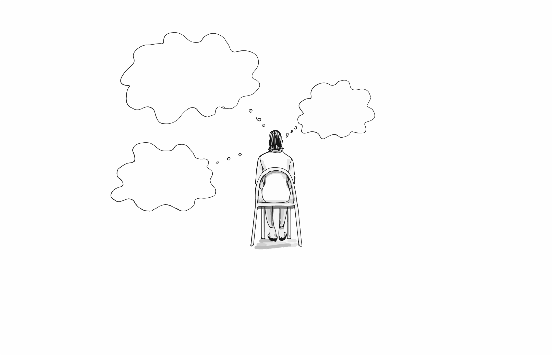 Illustration of a person sitting in a chair with their back to us and quote bubbles hovering over them.