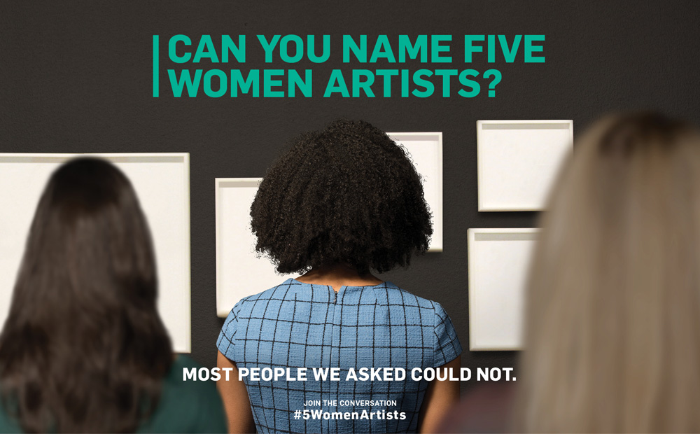 "Image of several women looking at a set of blank white frames hanging on a wall with ""Can you name 5 women artists?"" written above the frames."