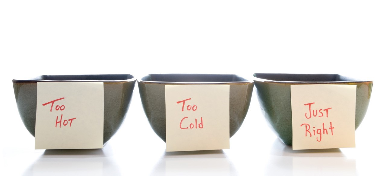 "Image of three square bowls in a row. The first bowl has a yellow Post-It note attached that says ""Too Hot"", the second bowl has a yellow Post-It Note attached that says ""Too Cold"", the third bowl has a yellow Post-It Note that says ""Just Right"" handwritten."