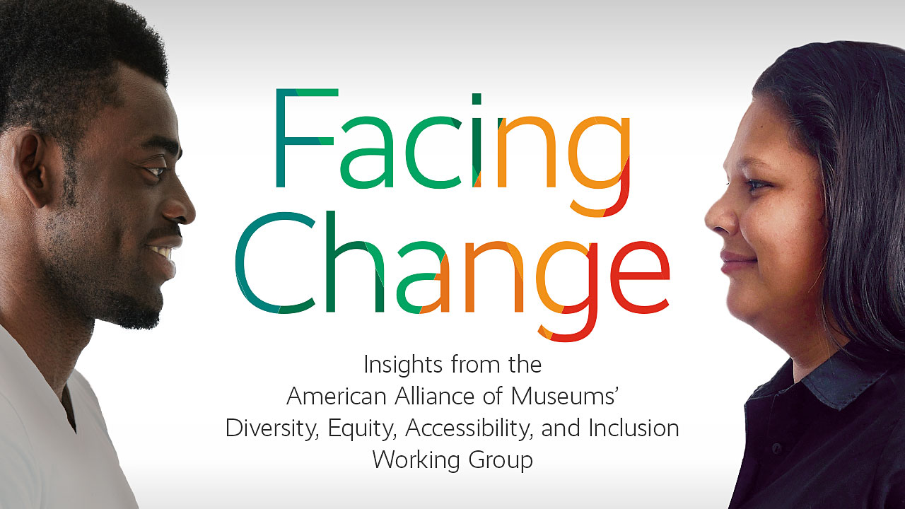 "Facing Change Report Cover: A man looks into they eyes of a woman facing him with the text, ""Facing Change"" between them"