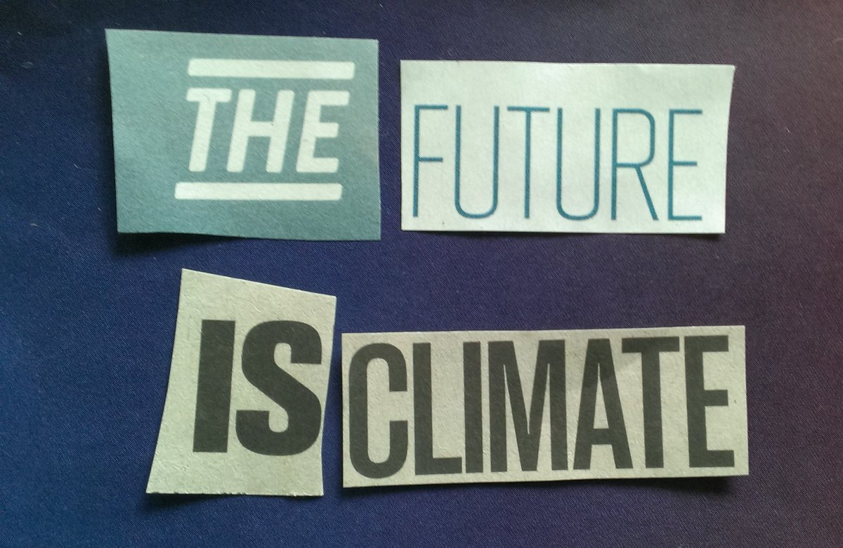 "Image of four newspaper clippings with the words ""The Future is Climate"" laid on a blue background."