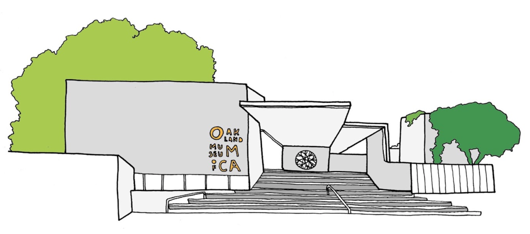 An illustration of the facade of the Oakland Museum of California.