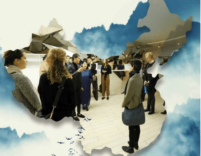Art design image of group of people listening to a speaker while standing in a museum setting with a map overlay of China.