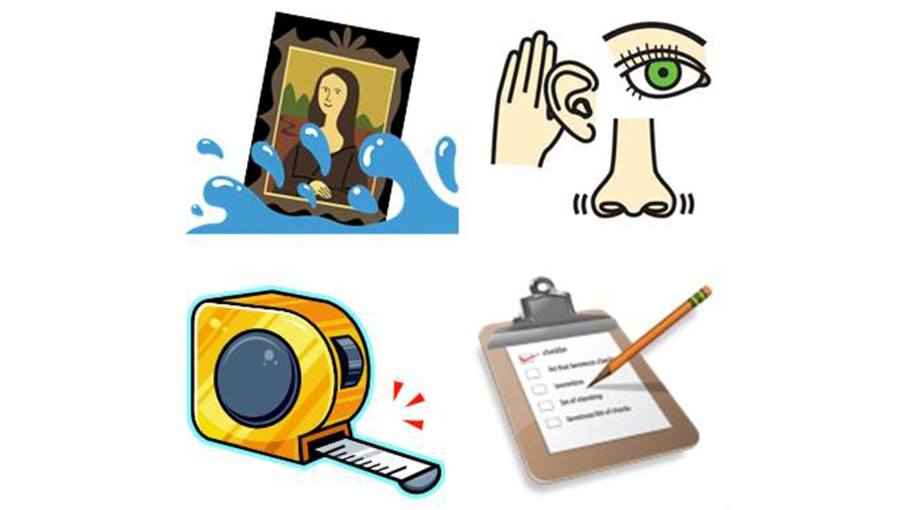 Four image icons one the Mona Lisa at an angle with water at her base, one a Picasso-esque eye, ear, nose and hand. One tape measure and one clipboard with a piece of paper and a pencil writing.