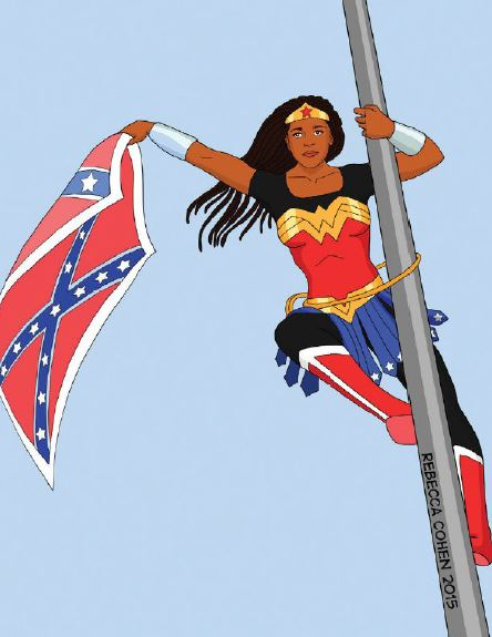 An artist's interpretation of Bree Newsome (clad in Wonder Woman armor) removes the Confederate flag from a flagpole