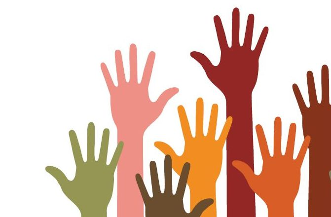 "Six drawn hands in different colors are raised as if to say ""pick me""."
