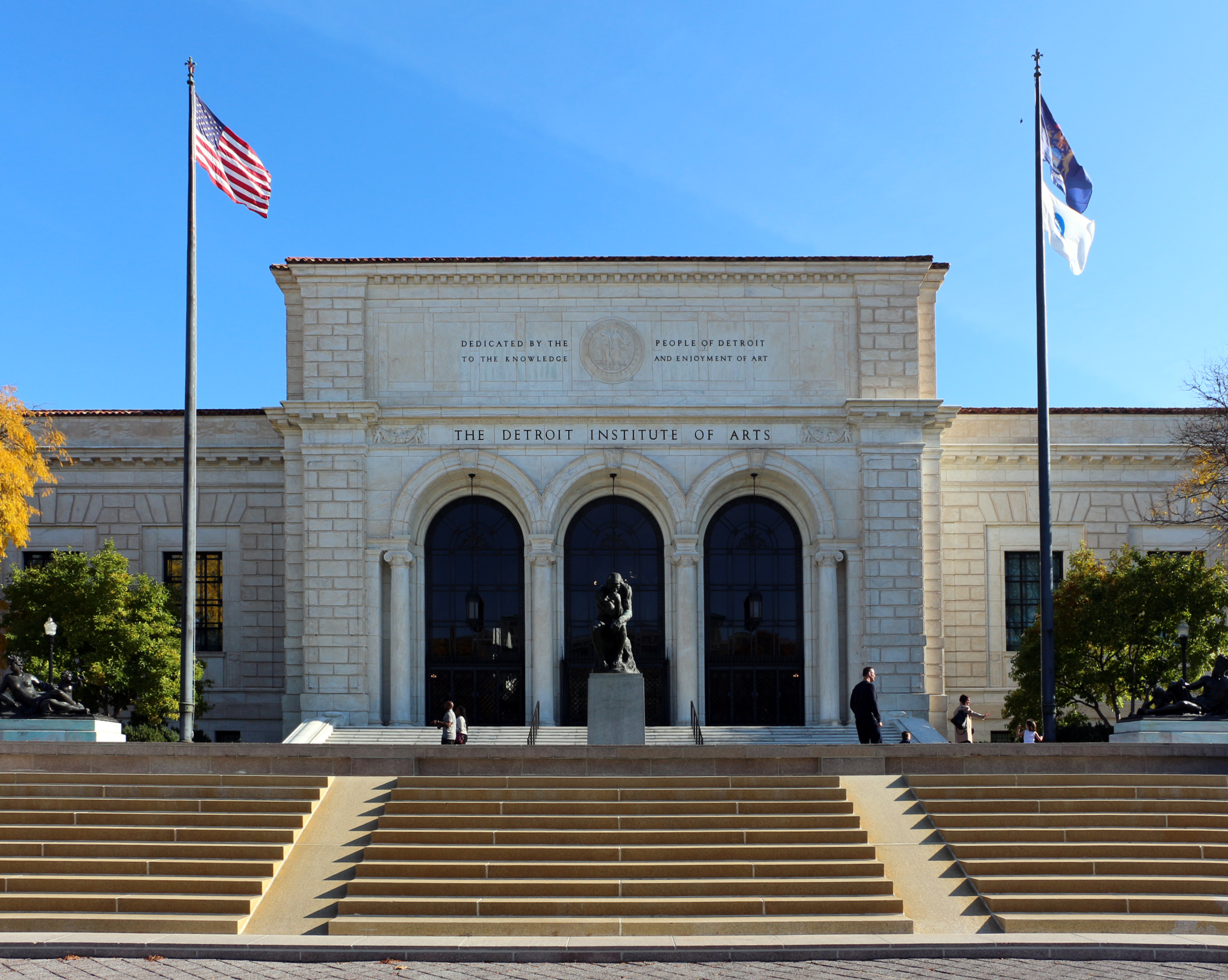 Front entrance of the Detroit Institute of Arts, Detroit, Michigan.