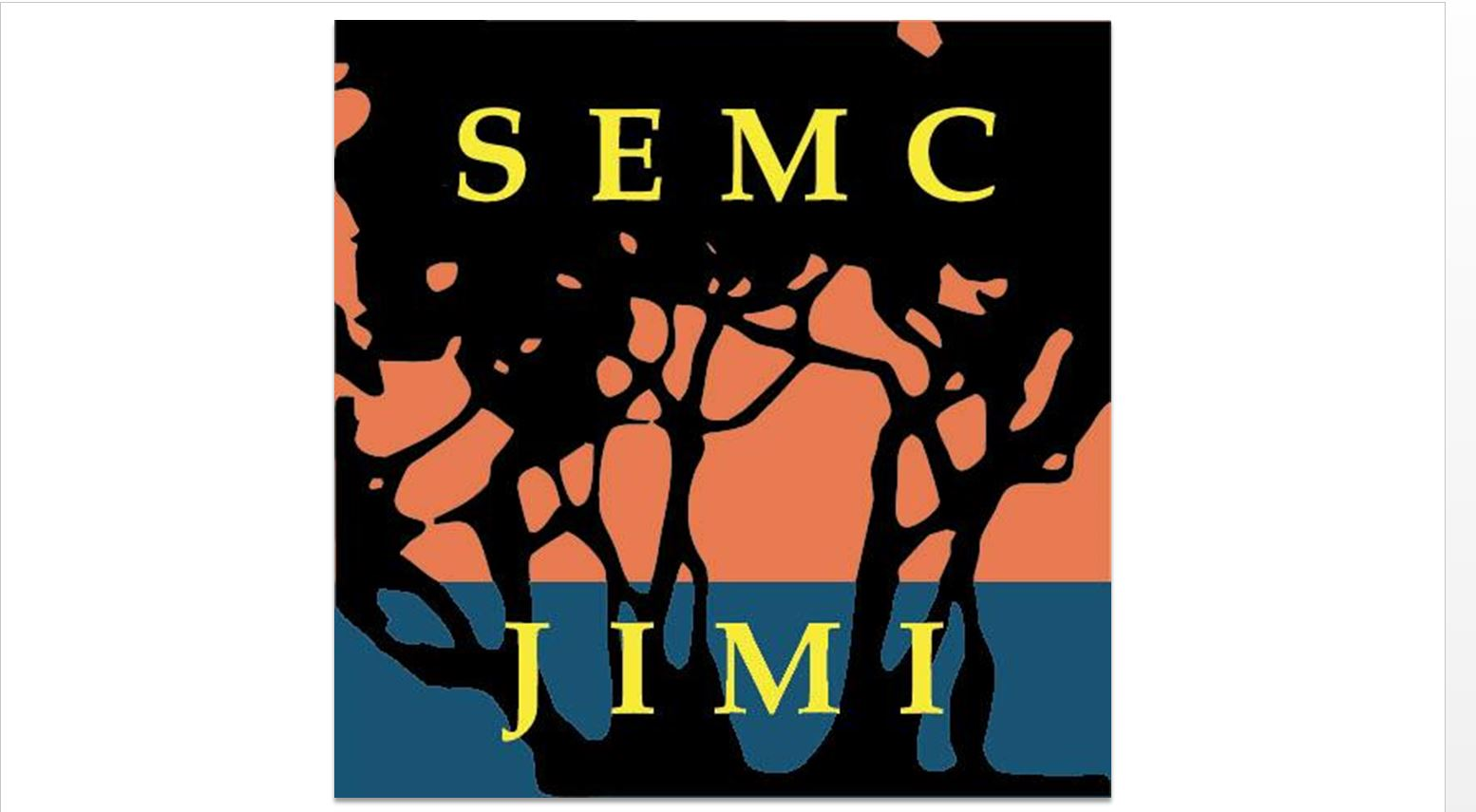 Jekyll Island Management Institute logo with the SEMC and JIMI in yellow on top of a tree shadow image with an orange and blue background.