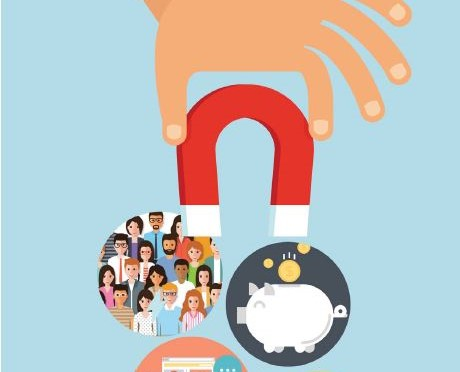 Graphic showing a hand holding a magnet that is picking up several circles with different images in them.
