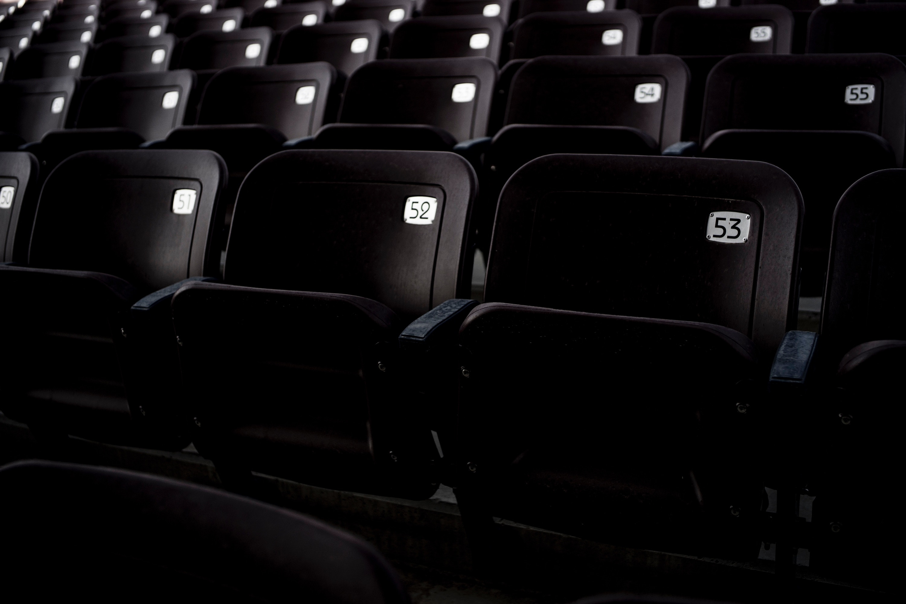 Dark theatre with black seats - each seat is empty put has a number on the back of the seat.