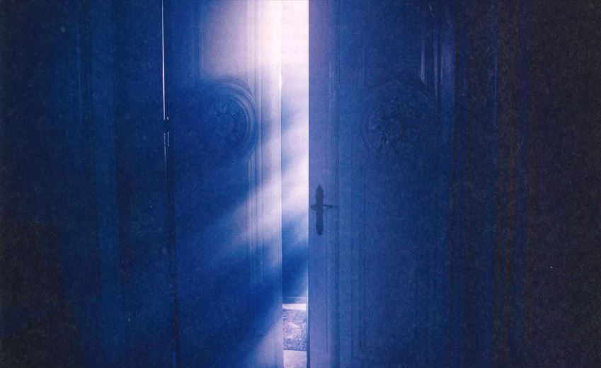 Image of a set of intricate double doors in a shadowed room with one door open and light streaming through.
