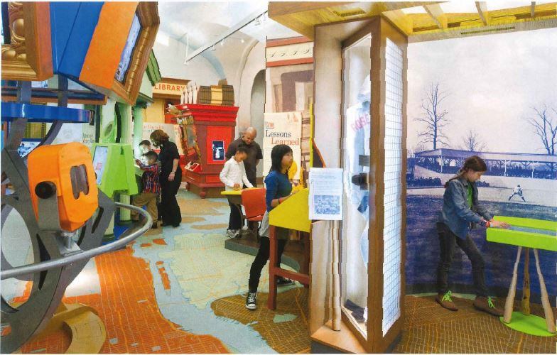 Children playing in an interactive gallery.