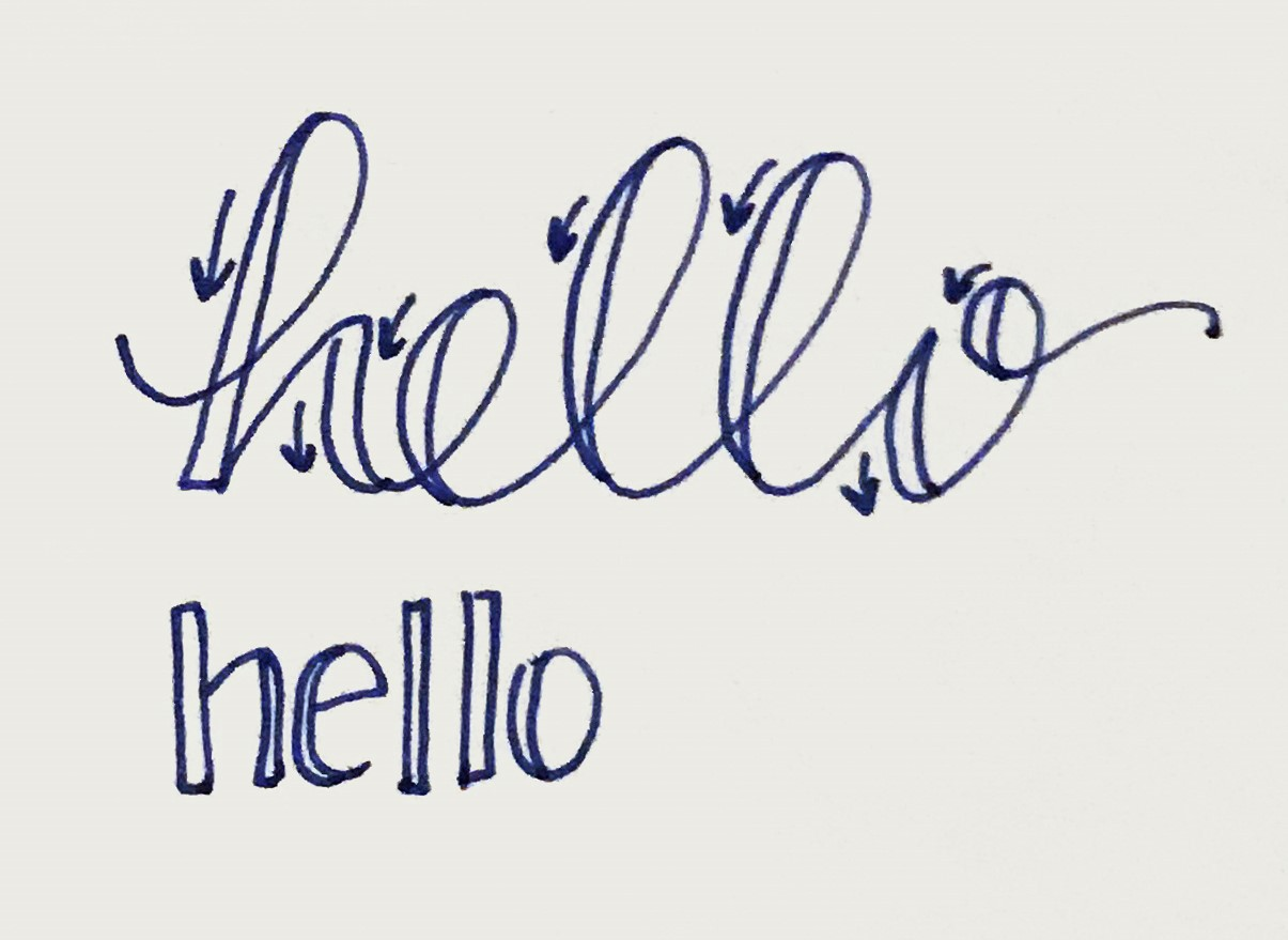 Example of how to write the word Hello with emphasis