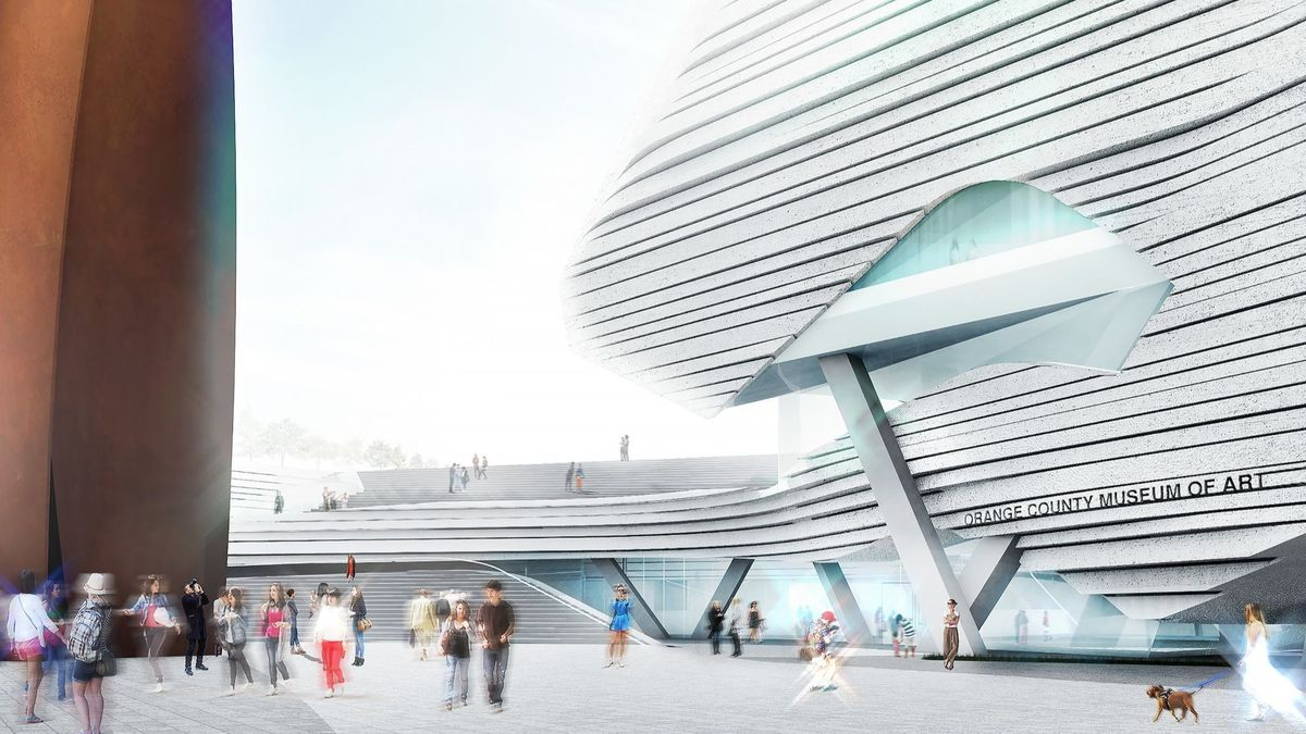 A rendering of the Orange County Museum of Art by Morphosis Architects. The firm is using virtual reality to allow for immersive views of the building. (Morphosis Architects)