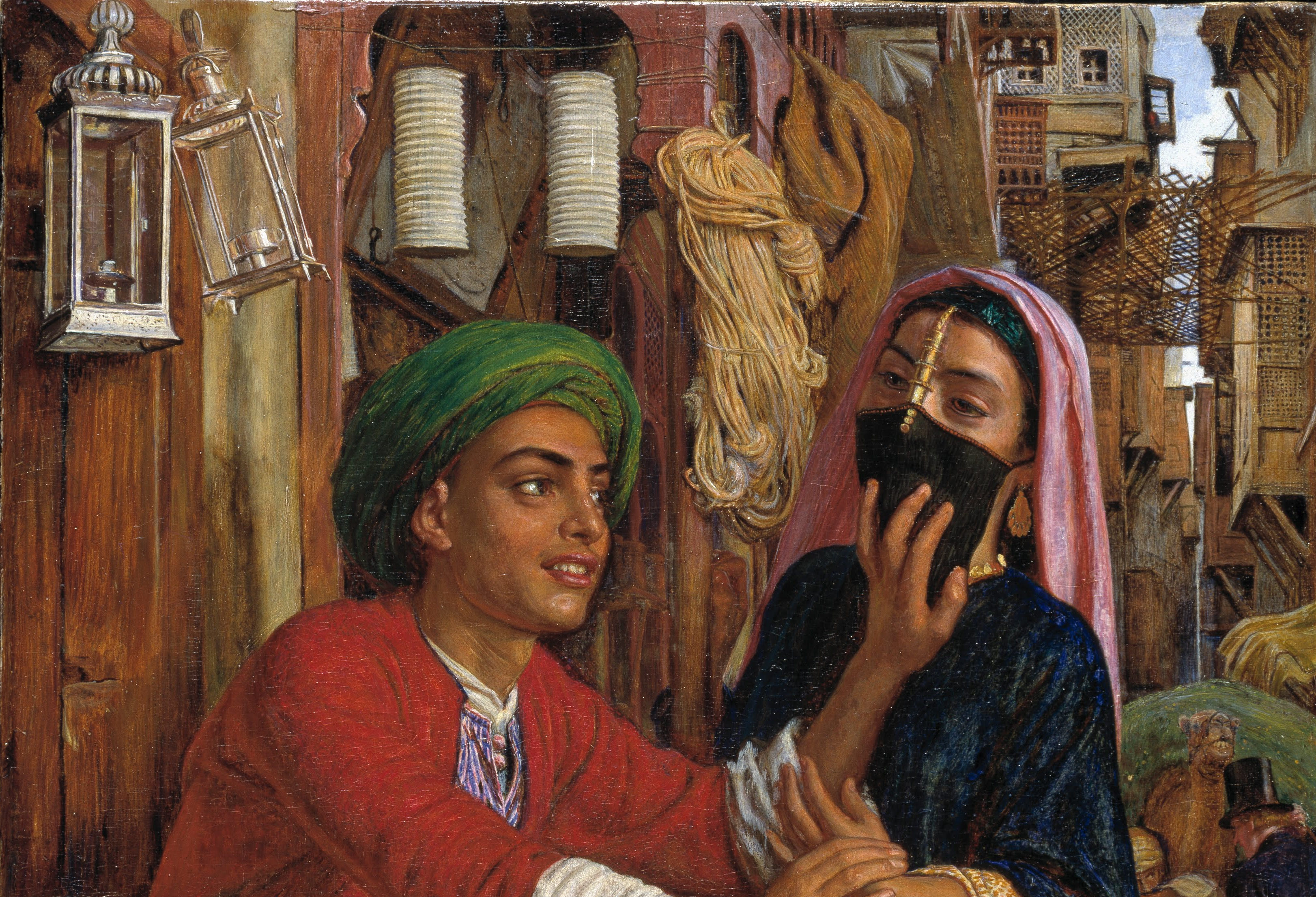 View of a painting showing a veiled woman standing next to a man with his hand on her mouth.