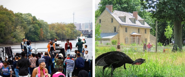 Two images linked and side by side. On the left is a scene of people outside sitting on tractors and near a river. On the right a historic house with a peahen in the foreground.