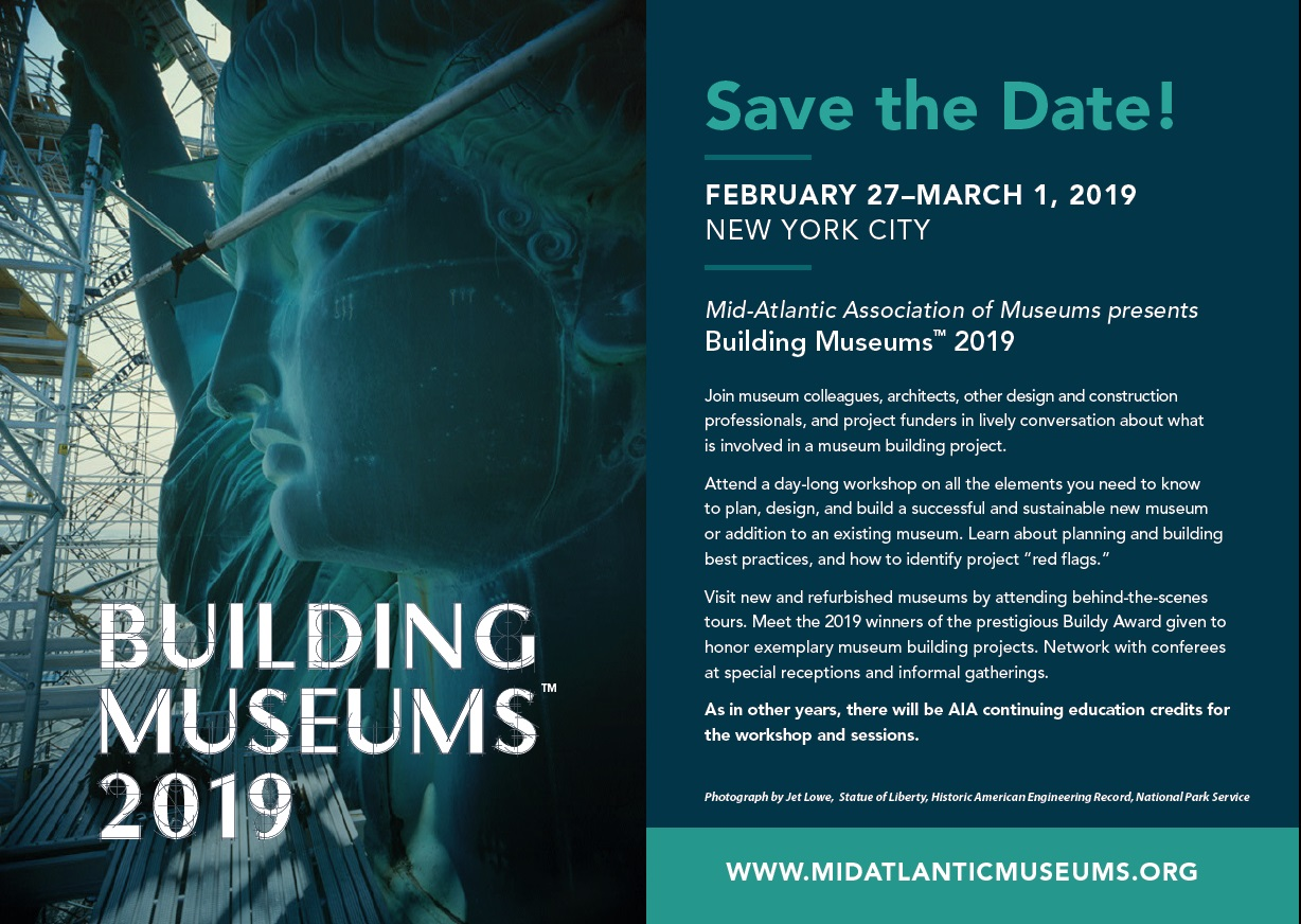 Save the date postcard for the Building Museums conference