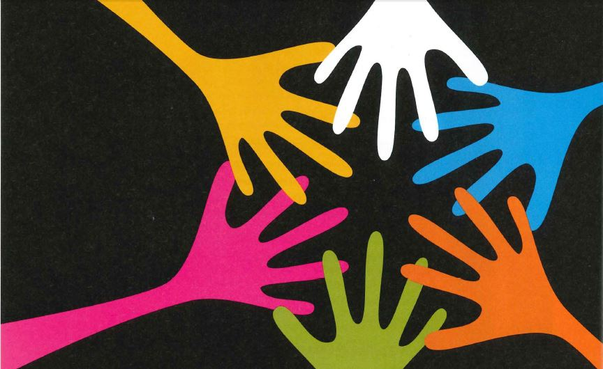 Five drawn hands in different colors overlap on top of a black background.