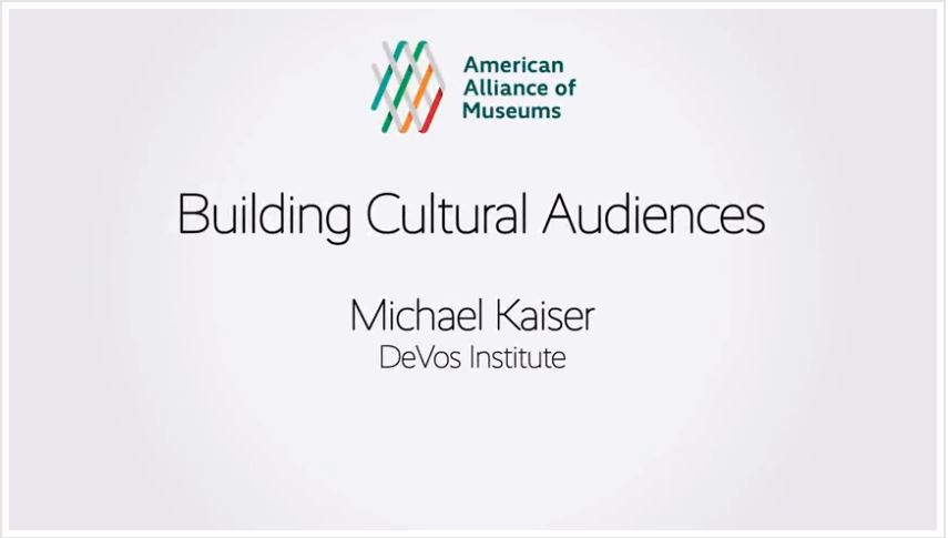 Title page of the Building Cultural Audiences session with Michael Kaiser's name.