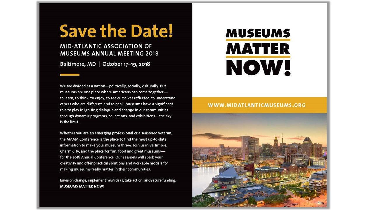 Save the Date postcard for the MAAM 2018 Annual Meeting
