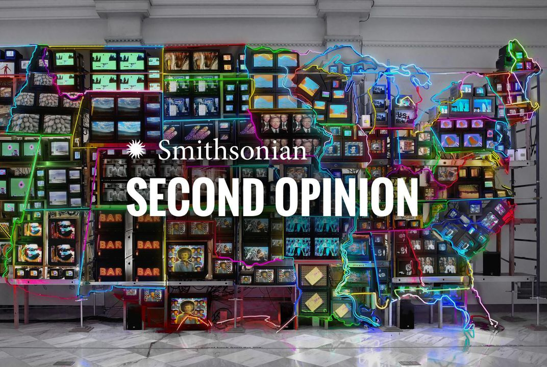 "An image of an art piece creating the US states out of neon and televisions with the words ""Smithsonian Second Opinion"" over it"