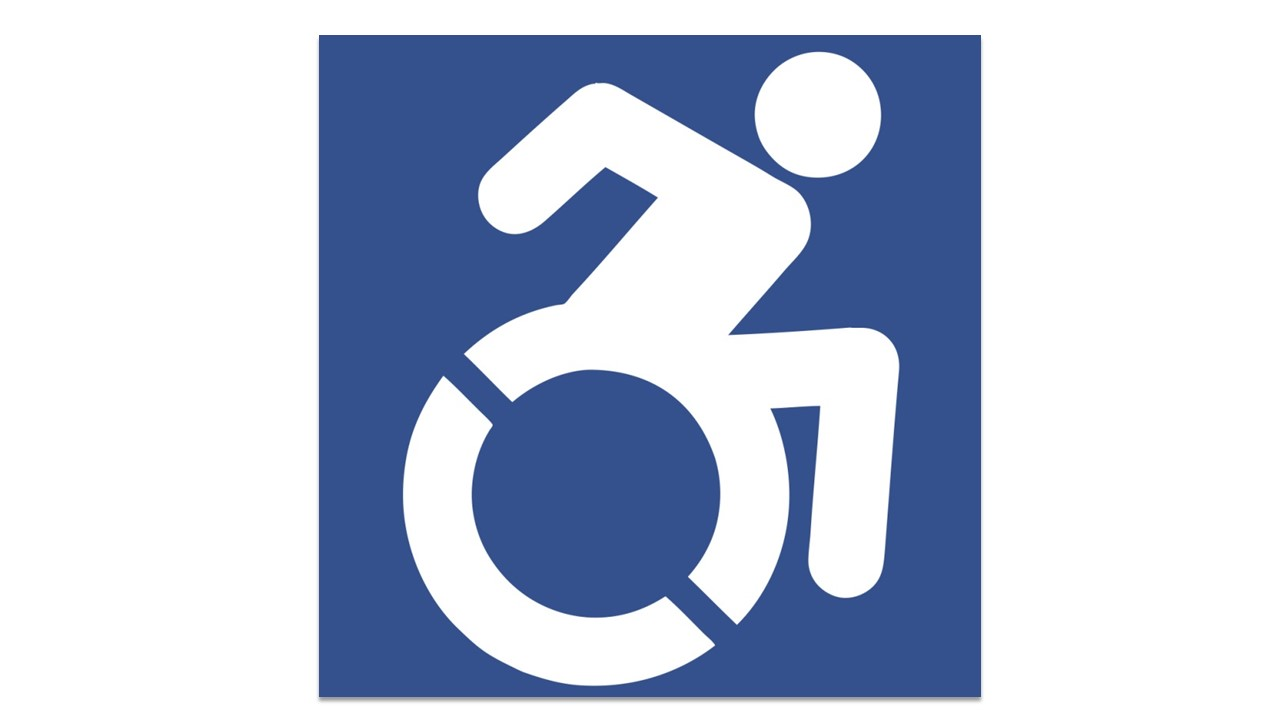 Image: A blue square with a white negative space of a simple seated figure in a wheelchair with their arms bent and torso leaning forward to express movement.