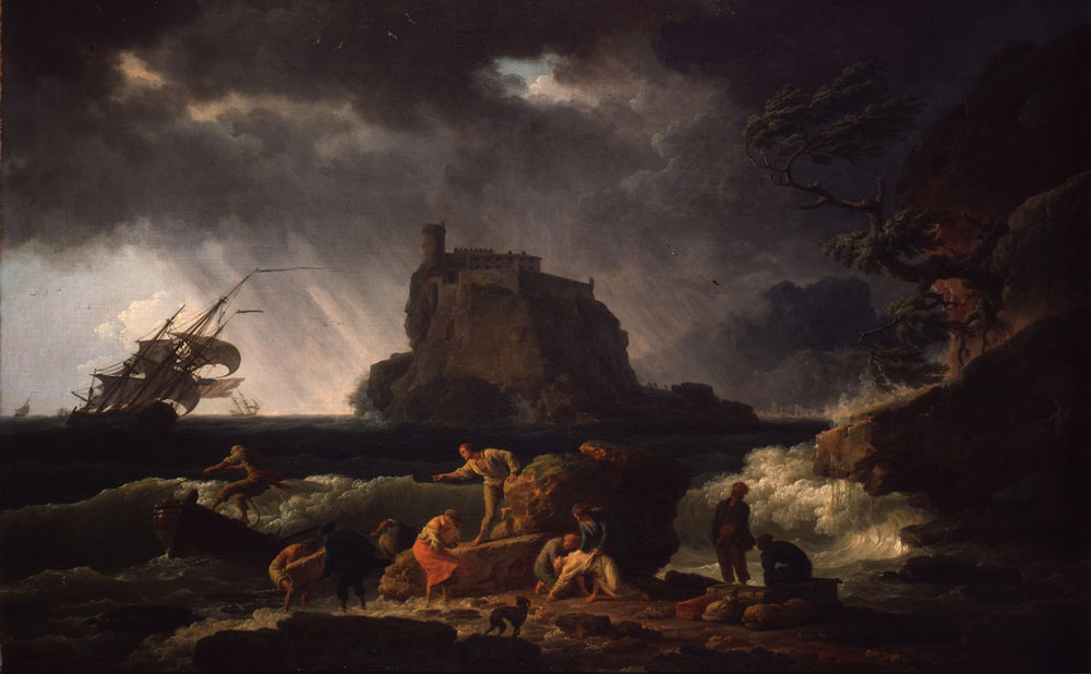 Painting of a storm with people on the beach and a large rock structure in the background, painted with grays, browns and reds.