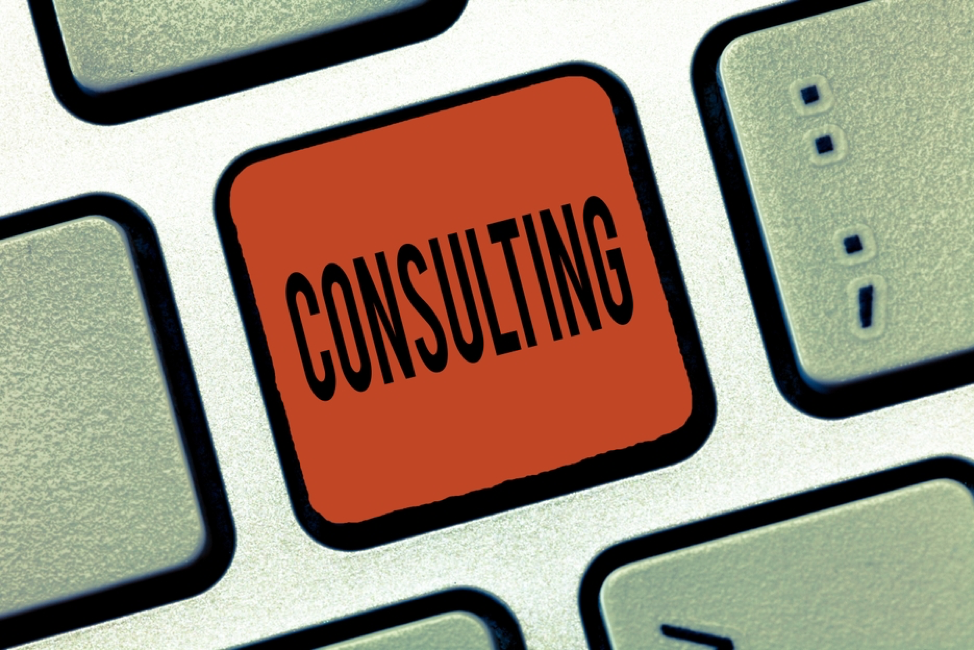 A graphic with the word consulting in the middle