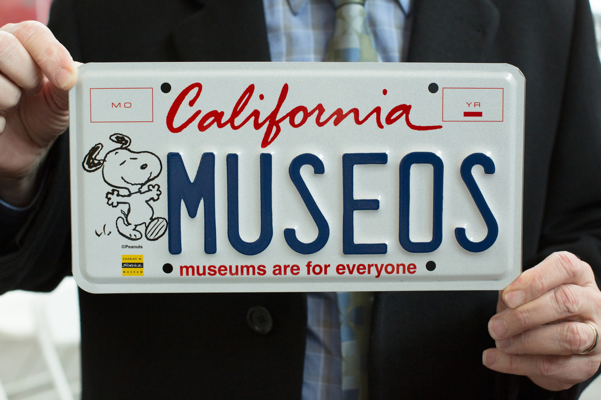 Happiness really is a warm puppy! With dogged determination, the California Association of Museums found a new and ongoing revenue source for the state's museums in a specialty license plate emblazoned with Snoopy. Photo credit: Brad Zweerink