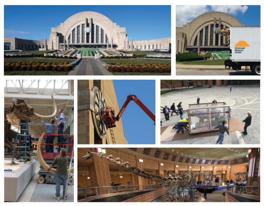 Several interior and exterior of the Cincinnati Museum Center at Union Terminal