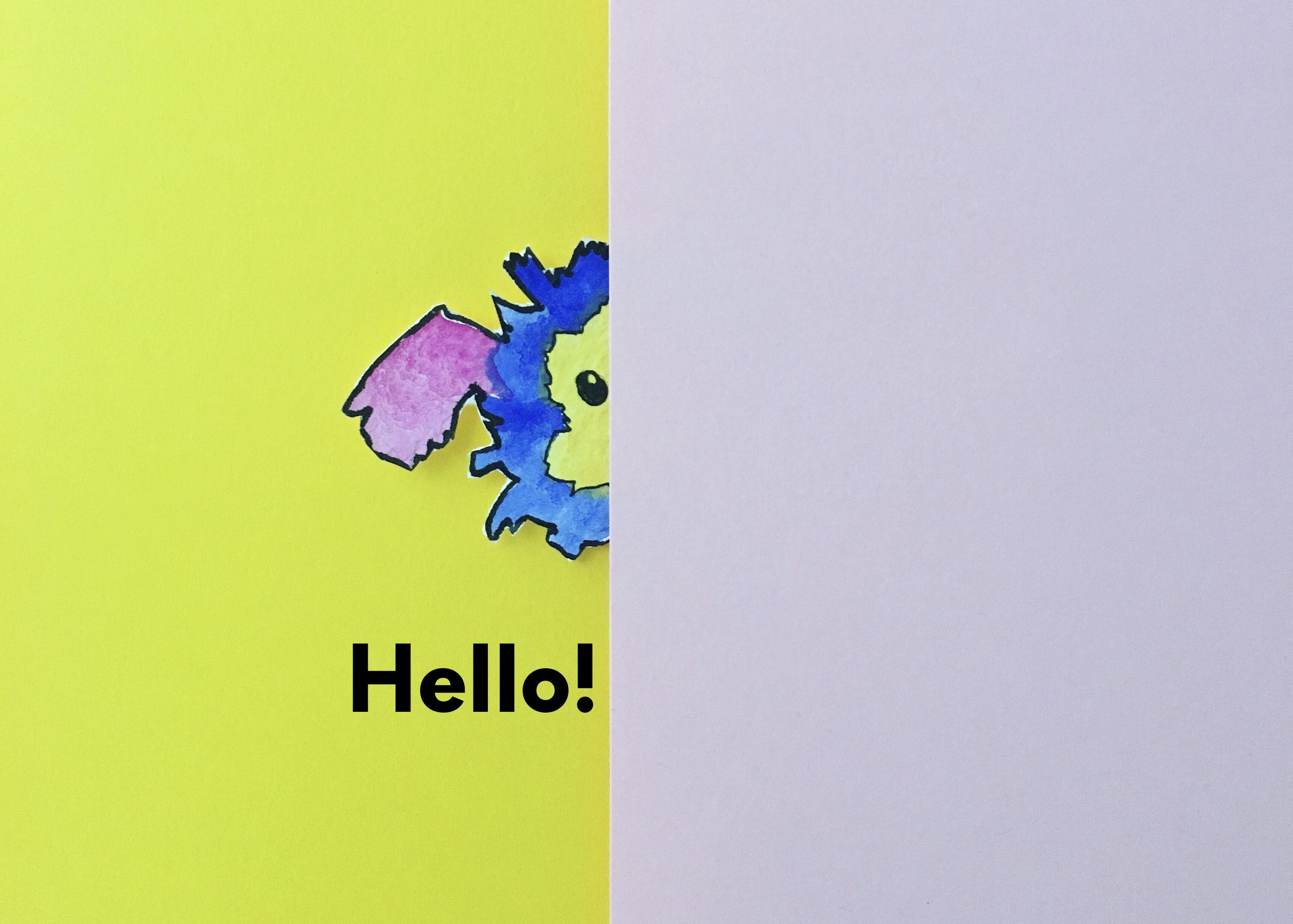 "Half of Marabou's head peeks out behind a white sheet of paper, and text below says ""Hello!"" Marabou has floppy purple ears, a fluffy blue head, and a yellow face with beady eyes."