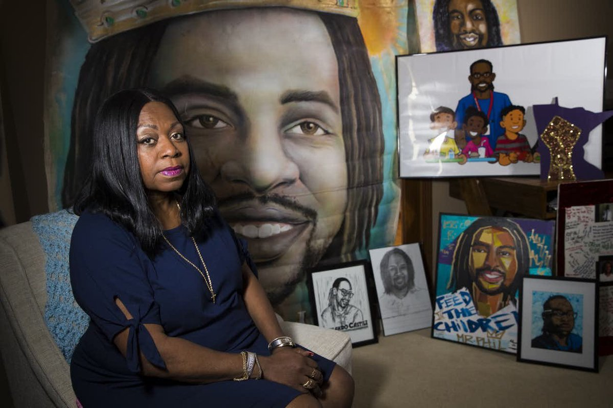 Valerie Castile in her home with works of art produced in memory of her son, Philando.