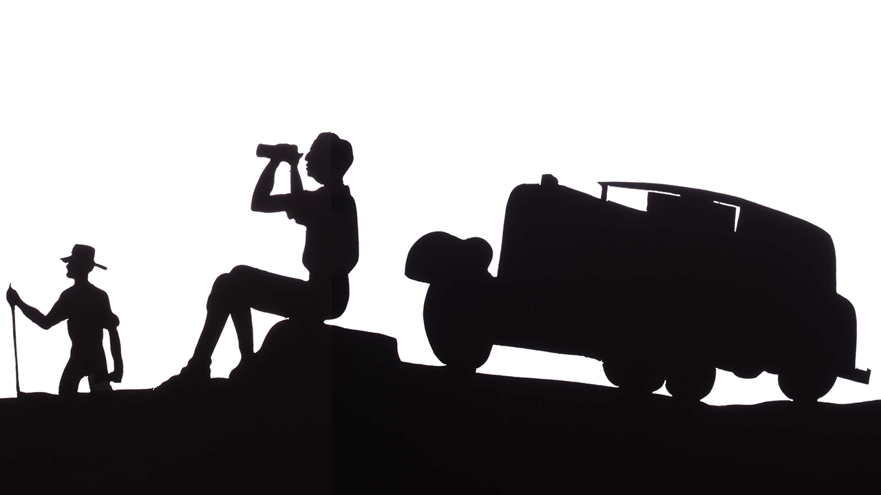 A silhouette drawing of campers with their car parked on a hill, looking out at the sky with binoculars.